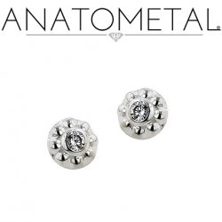 Anatometal Solid Silver Internally Threaded 5mm Ipsa Gem End 18g 16g 14g 12g