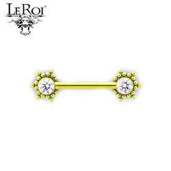 Le Roi Titanium Side-set Gem Barbell 34 Bead Accents 14 Gauge 12 Gauge 14g 12g