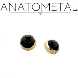 Anatometal 18kt Gold Threaded 3mm Bezel-set Cabochon Gem End 18g 16g 14g 12g