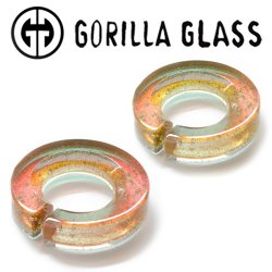 "Gorilla Glass Deluxe Dichroic Flat Saturns 1.6oz Ear Weights 3/4"" And Up (Pair)"
