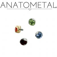 Anatometal Titanium Threaded 2mm Prong-Set Faceted Gem End 18 Gauge 16 Gauge 14 Gauge 12 Gauge 18g 16g 14g 12g