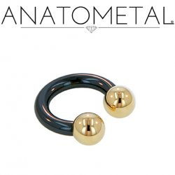 Anatometal Niobium Circular Barbell with Titanium Ball Ends 2 Gauge 2g