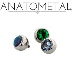 Anatometal Titanium Threaded Gem Ball End 4 gauge 4g