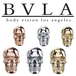 "BVLA 14Kt Gold Low Profile ""Skull"" Threaded End Dermal Top 18g 16g 14g 12g Body Vision Los Angeles"
