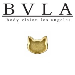 "BVLA 14Kt Gold ""Cat Head"" Threadless End 18g 16g 14g ""Press-fit"""