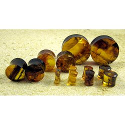 Organic Dominican Amber Ear Plugs 10g through 5/8""