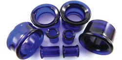 Glasswear Pyrex Glass Single/Double Flare Cobalt Color Eyelets Pair 0g - 2""