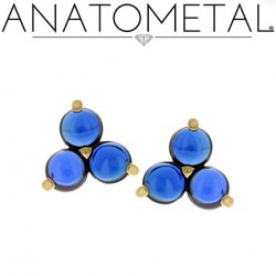 Anatometal 18kt Gold Trio Earrings 3mm Cabochon Gems (Pair)