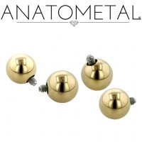 Anatometal 18kt Yellow White Gold Threaded Ball End 10g 8g