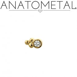 Anatometal 18kt Gold 1 Cluster Sabrina End 1.5mm gem 18g 16g 14g 12g