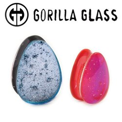"Gorilla Glass Fused Dichroic Teardrops Ear Plugs 1/2"" to 2"" (Pair)"