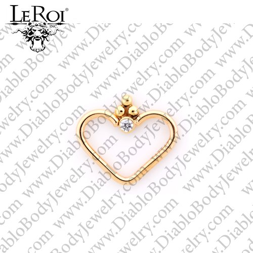 "LeRoi 14kt Gold ""Royale"" Heart Daith Ring 18 Gauge 18g - Click Image to Close"