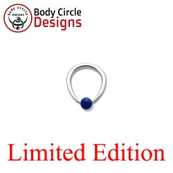 "Body Circle Surgical Stainless Steel 7/16"" Tapered Oval Captive Bead Ring with Lapis Lazuli Bead 12 Gauge 12g"