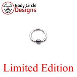 "Body Circle Surgical Stainless Steel 7/16"" Flat Tip Captive Bead Ring with Hematite Bead 14 Gauge 14g"