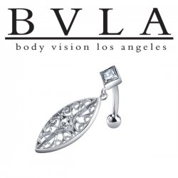 BVLA 14kt Gold Fallen Leaf Genuine Diamond Navel Curved Barbell 14 Gauge 14g Body Vision Los Angeles
