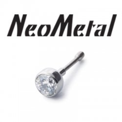 "18 Gauge 18g NeoMetal Threadless Titanium Bezel-Set Faceted Gem 2.5mm ""Press-fit"""