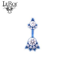 LeRoi Titanium Navel Curved Barbell with 2 Gem Clusters (6HN) 14 Gauge 14g