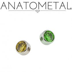 Anatometal Titanium Threaded 4mm Bezel-set Faceted Gem End 10 Gauge 8 Gauge 10g 8g
