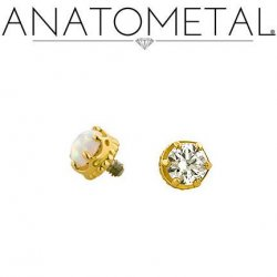 Anatometal 18kt Gold Queen Threaded 3mm Gem End 18g 16g 14g 12g