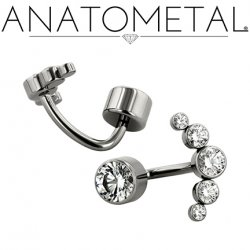 Anatometal Titanium Bezel-set Faceted Gem Cluster Navel J-Curve Barbell Belly Button Ring 16 gauge 14 Gauge 12 Gauge 16g 14g 12g