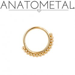 Anatometal Vaughn 18kt gold Seam Ring With Gold Bead Overlay 16 Gauge 16g