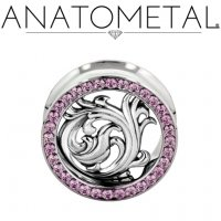 "Anatometal Surgical Steel Gemmed Eyelet ""Nouveau"" Silver Insert 1/2"" to 7/8"""