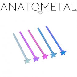 Anatometal Titanium Star Nostril Screw Nose Ring 18 gauge 20 Gauge 18g 20g