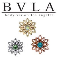 "BVLA 14Kt Gold ""Marisol"" Threaded End Dermal Top 18g 16g 14g 12g Body Vision Los Angeles"