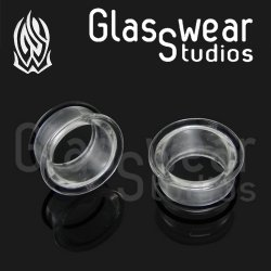 "Glasswear Pyrex Glass Single Flare Clear Eyelets 8g - 3"" (Pair)"