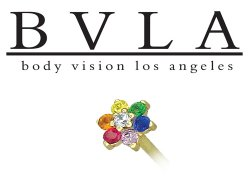 BVLA 14kt Yellow White Rose Gold Flower Rainbow CZ Gem Nostril Screw Nose Bone Nail Ring Stud 20g 18g 16g Body Vision Los Angeles