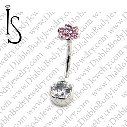 IS Surgical Stainless Steel Flower Top Bezel-set 6mm Gem Curved Navel Barbell 14 Gauge 14g Industrial Strength - Click Image to Close