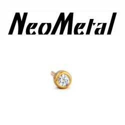 "18 Gauge 18g NeoMetal Threadless 1.5mm Bezel-set Genuine Diamond End 14kt 14 Karat Gold ""Press-fit"""