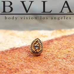 "BVLA 14kt Gold ""Double Pear Harlequin"" 6mm Threadless End 18g 16g 14g ""Press-fit"""