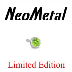 "18 Gauge 18g NeoMetal Limited Ed. Threadless Titanium Faceted Peridot Bezel 1.5mm ""Press-fit"""