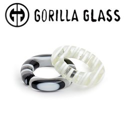 Gorilla Glass Linear Round Saturns 0.5oz Ear Weights 00 Gauge 00g And Up (Pair)