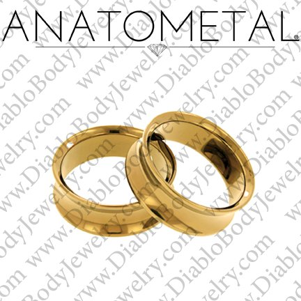 "Anatometal 18kt Gold Double Flare Eyelet Tunnel 8g to 1 1/4"" - Click Image to Close"