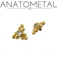 Anatometal 18kt Gold 3 Cluster Sabrina End 1.5mm gem 18g 16g 14g 12g