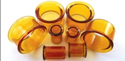 Glasswear Pyrex Glass Single/Double Flare Amber Color Eyelets Pair 0g - 2""