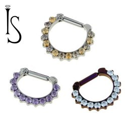 Industrial Strength Odyssey Titanium 2mm Faceted Gem Septum Clickers 16g 14g 12g