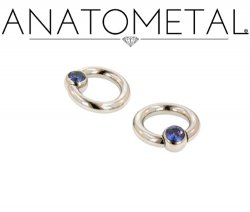 Anatometal Surgical Stainless Steel Gem Captive Bead Ball Closure Ring 8g 8 Gauge