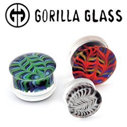 "Gorilla Glass Feather Plugs 2 Gauge to 1"" (Pair)"