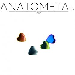 "Anatometal Titanium Threadless Heart End 18 Gauge 18g ""Press-fit"""