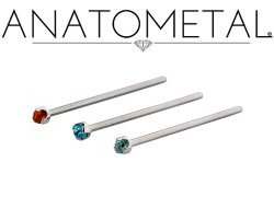 Anatometal Surgical Steel Prong Gem Nostril Screw Nose Ring Nail 20 Gauge 18 Gauge 20g 18g