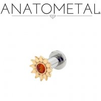 Anatometal Bronze Sinflower Surgical Steel Plug Ear Gauge with threaded flatback 6 Gauge 4 Gauge 2 Gauge