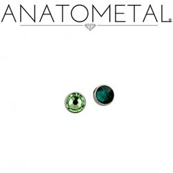 Anatometal Flat Bottom Gem Titanium Threadless End 18g 16g 14g (25g Pin Universal) Threadless Posts Press-fit