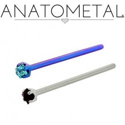 Anatometal Titanium Prong Princess Gem Nostril Screw Nose Ring 20 Gauge 18 Gauge 20g 18g