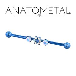 Anatometal Titanium Gem Flower 2 Prong Gem Industrial Barbell 14 Gauge 12 Gauge 14g 12g