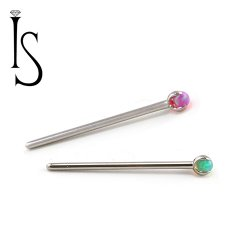 Industrial Strength Titanium 2mm 3-Prong Faux-pal Gem Nostril Screw Nose Ring 20 Gauge 18 Gauge 20g 18g