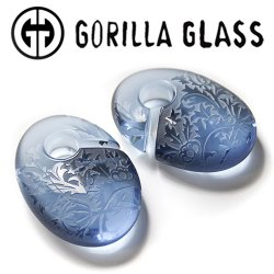 "Gorilla Glass Torian Ovoids 2.6oz Ear Weights 5/8"" And Up (Pair)"
