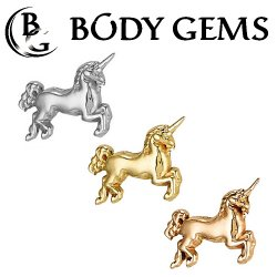 "Body Gems 14kt Gold ""Unicorn"" Threaded End Dermal Top 18 Gauge 16 Gauge 14 Gauge 12 Gauge 18g 16g 14g 12g"